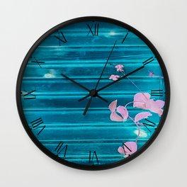 blue wooden wall pink jasmine minimal Wall Clock