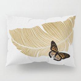 Butterfly & Palm Leaf, Gold Wall Art Pillow Sham