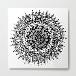 Zentangle - Sunflower Metal Print
