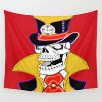 steam punk Wall Tapestries featuring Steam Punk Vampire Skull by J&C Creations