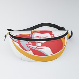 Table Tennis Player Serving Mascot Fanny Pack
