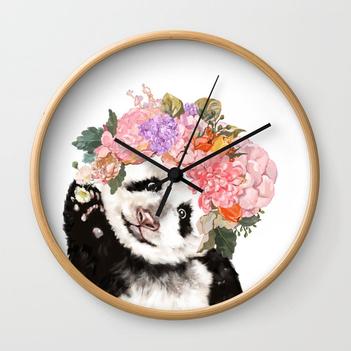 Baby Panda with Flowers Crown Wall Clock