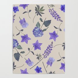seamless   pattern of blue flowers . Endless texture Poster
