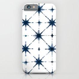 Shibori indigo bohemian tie dye diamond pattern iPhone Case
