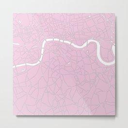 London Pink on White Street Map Metal Print