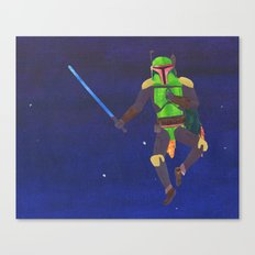 Boba Fett with a Lightsaber Collage Canvas Print