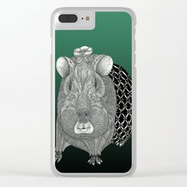 Ms Guinea Pig is dressed up and ready to go party Clear iPhone Case