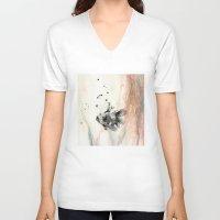 goldfish V-neck T-shirts featuring Goldfish by Lucia Calderon Arrieta