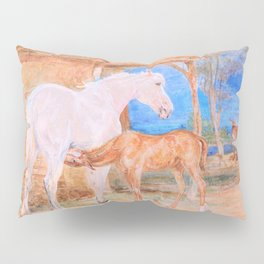 Gray Mare And A Chestnut Foal - John Frederick Lewis Pillow Sham