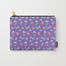 Modern green pink violet hand drawn birds pattern Carry-All Pouch