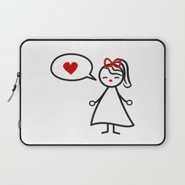 cute lovely black white red stick figure girl and speech bubble with heart Laptop Sleeve