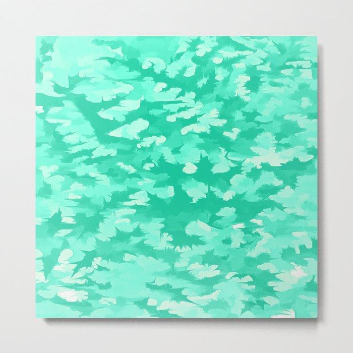 Foliage Abstract  Pop Art Aqua Metal Print