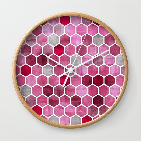 Pink Ink - watercolor hexagon pattern Wall Clock