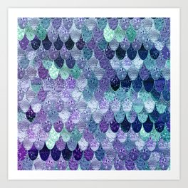 SUMMER MERMAID  Purple & Mint by Monika Strigel Art Print