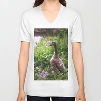 duck V-neck T-shirts featuring Duck by Terri Ellis