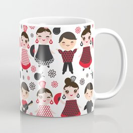 Seamless pattern spanish flamenco dancer. Kawaii cute face with pink cheeks and winking eyes. Coffee Mug