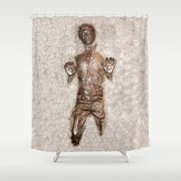 han solo Shower Curtains featuring Han Solo In Carbonite by Graphic Craft