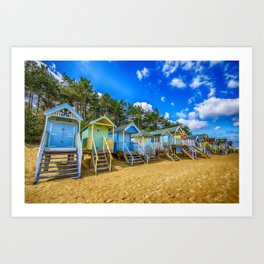 Coloured Beach Huts 2 Art Print