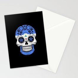 Sugar Skull with Roses and Flag of Nicaragua Stationery Cards