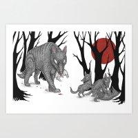 Four Arms - Wolf & Pups Art Print