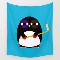 hockey Wall Tapestries featuring Hockey penguin by Jaxxx