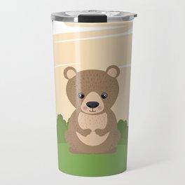 Cute Bear In A Nature Frame Travel Mug