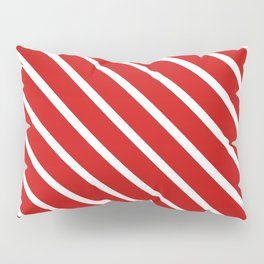 Valentines Red Diagonal Stripes Pillow Sham