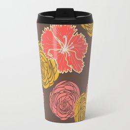 floral chocolate color Travel Mug