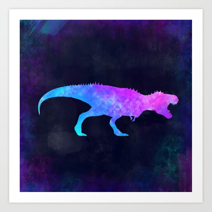 T-REX IN SPACE // Dinosaur Graphic Art // Watercolor Canvas Painting // Modern Minimal Cute Art Print