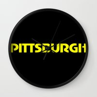 pittsburgh Wall Clocks featuring Pittsburgh by AE Interiors