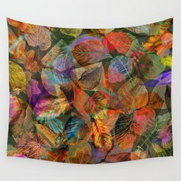 Painted Autumn Leaves Wall Tapestry