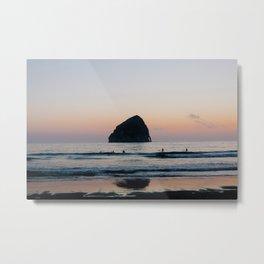 Sunset Surfers - Oregon Coast Metal Print