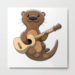 guitar playing otter music weasel musician Metal Print