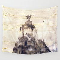 madrid Wall Tapestries featuring Metropolis building, Madrid by Deprofundis