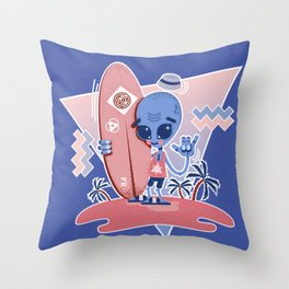Alien Surf - Serenity & Rose Quartz Throw Pillow