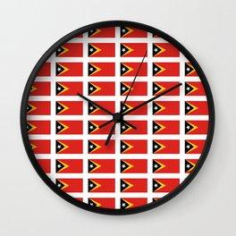 Flag of timor -Timor leste,Timór Lorosa'e , dili,tetum,Timorese,Maubere. Wall Clock