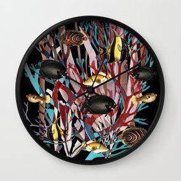 Tropical Fish and Seaweed Wall Clock