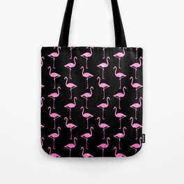 Pink Glitter Flamingo Pattern  |  Black Background Tote Bag