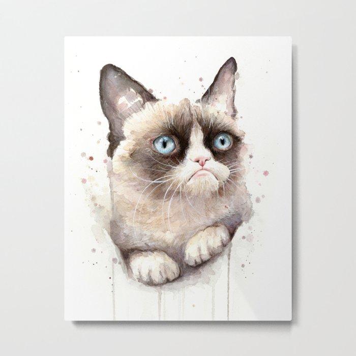 Grumpy Watercolor Cat Animals Meme Geek Art Metal Print