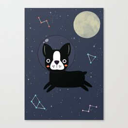 Boston Terrier In Space Canvas Print