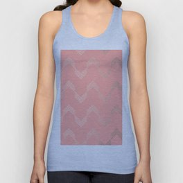 Simply Deconstructed Chevron White Gold Sands on Salmon Pink Unisex Tank Top