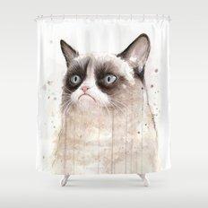 Grumpy Watercolor Cat Geek Meme Whimsical Animals Shower Curtain
