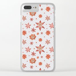 Cats on  red-orange flowers Clear iPhone Case