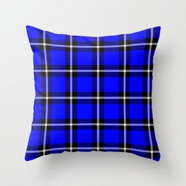 Solid blue #0000ff color themed plaid SCOTTISH TARTAN Checkered Fabric Pattern texture background Throw Pillow