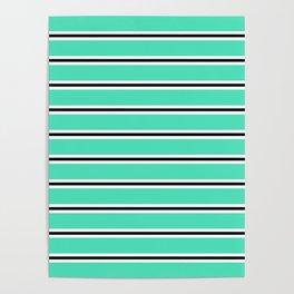 Menthol green, black and white horizontal stripes Poster