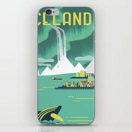 Vintage Mid Century Modern Iceland Scandinavian Travel Poster Ocean Whale Winter Village iPhone Skin