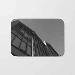 black and white building abstract Bath Mat