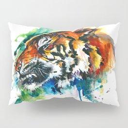 Orange Mad Tiger Watercolor Pillow Sham