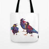 takmaj Tote Bags featuring Ugly birds by takmaj