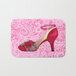 Red Shoes on Pink Lace with Poinsettia Bath Mat